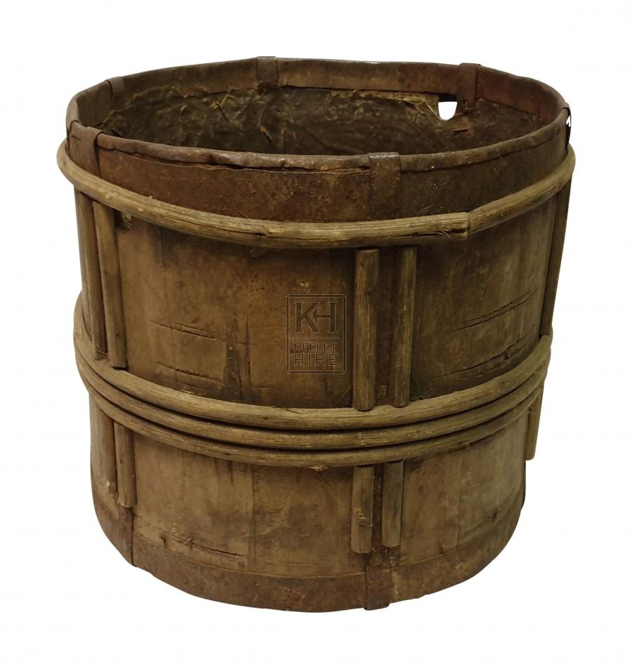 Small wood pot - wood bands