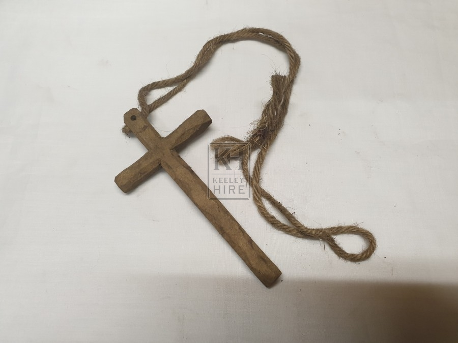 Small wood crucifix on string