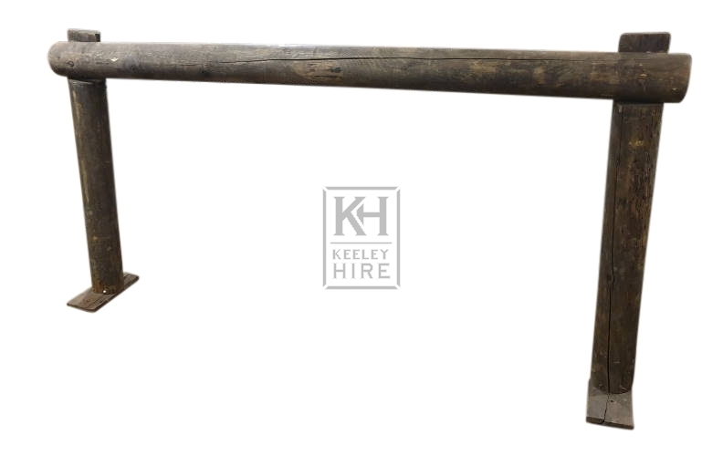 Thick wood hitching rail