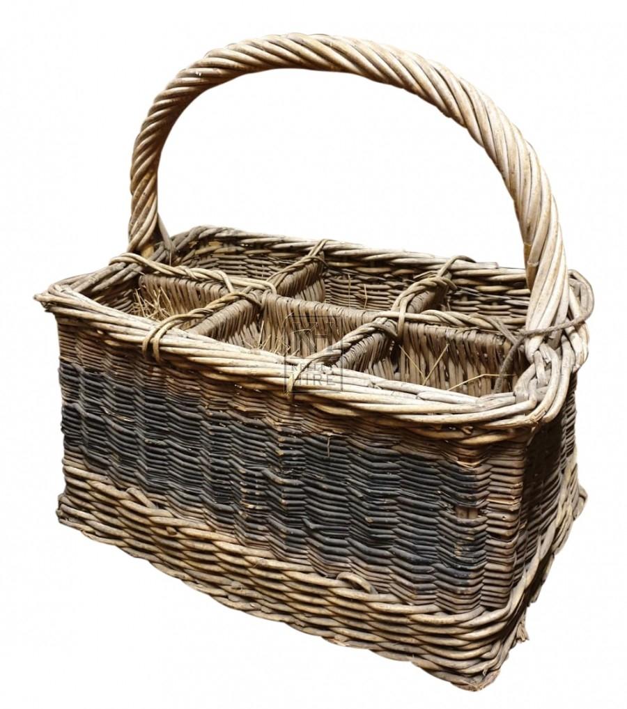 Wicker bottle basket with handle