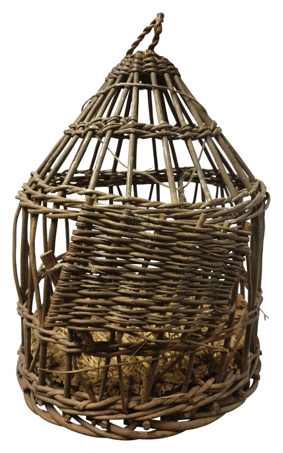 Wicker bird cage with door
