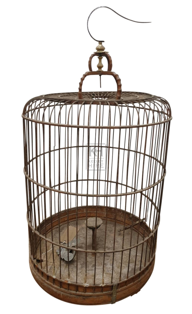 Dome wood bird cage with hook