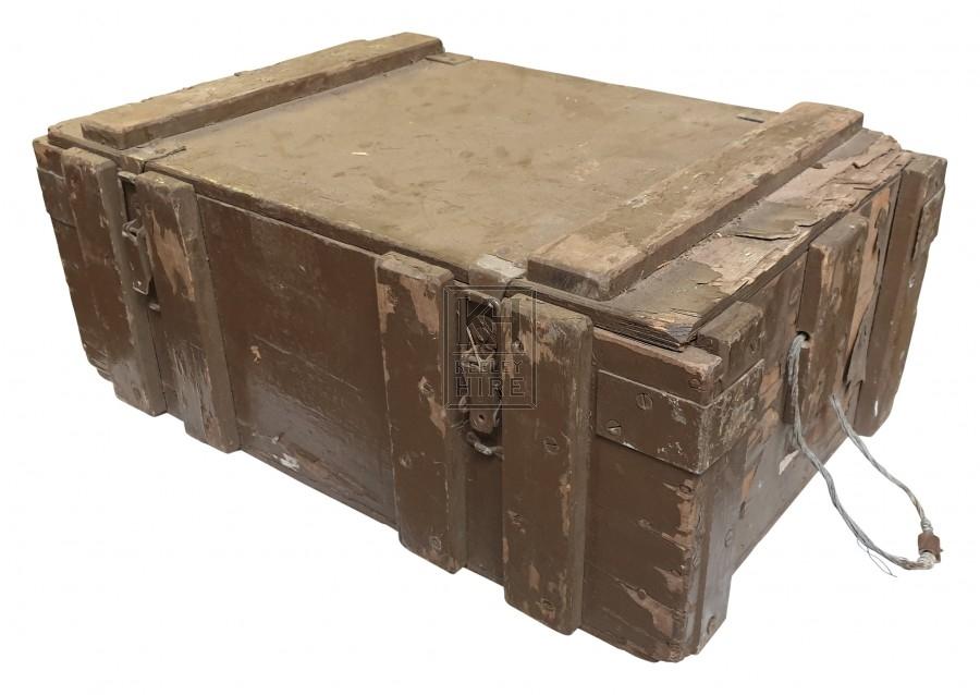 Brown wood crate with metal handle