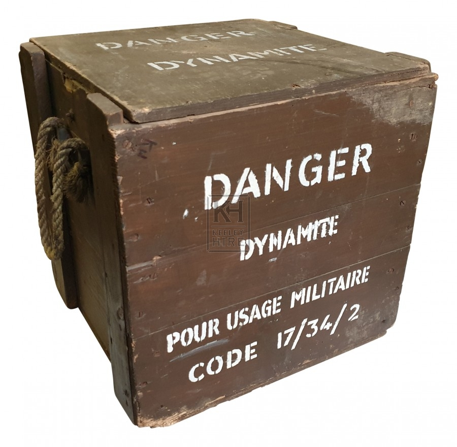 Danger Dynamite crate with rope handles