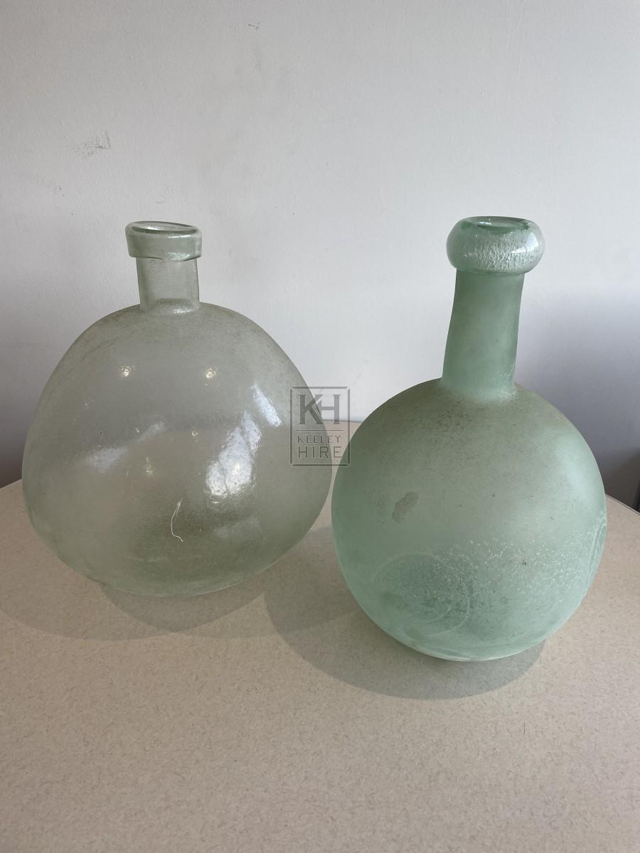 Antique Bulbous Green Glass Bottles