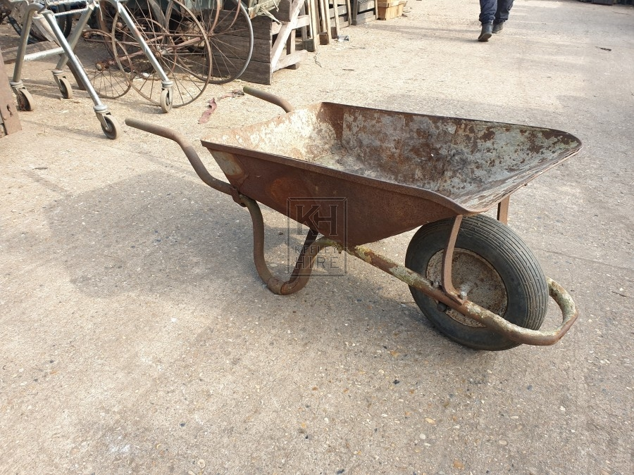 Wide metal wheelbarrow