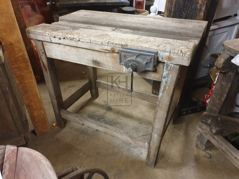 Small wood workbench with metal vice