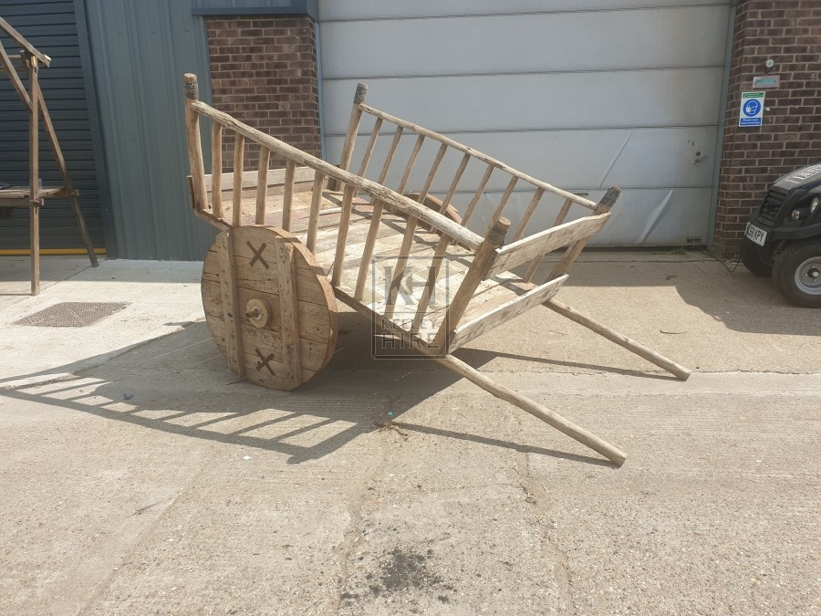 Large solid wheel slatted cart with hand