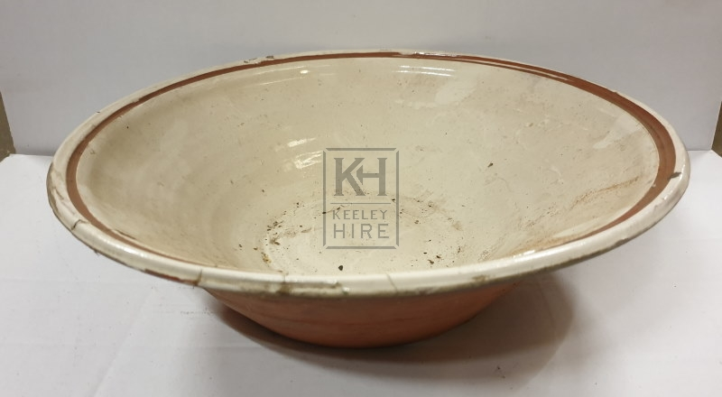 Large pottery mixing bowl