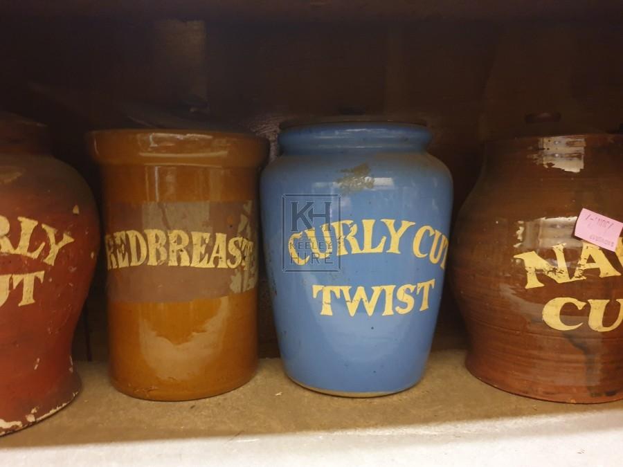 Blue ceramic tobacco jar