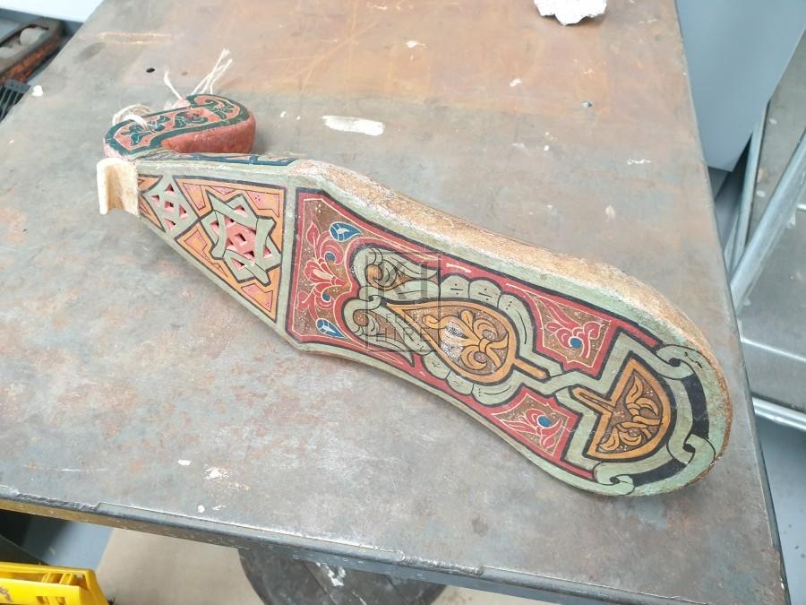 Painted wood lute