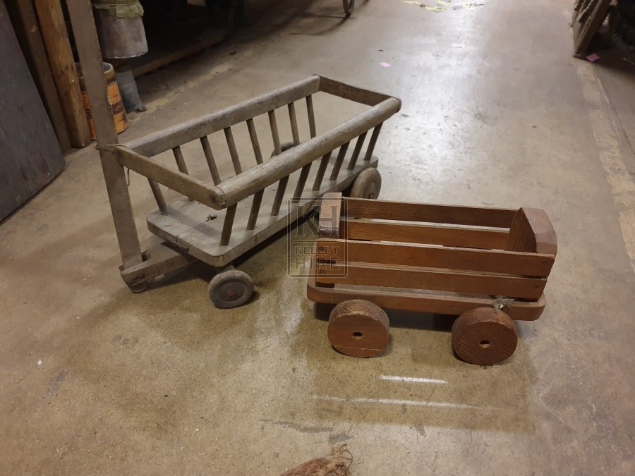 Toy wooden carts
