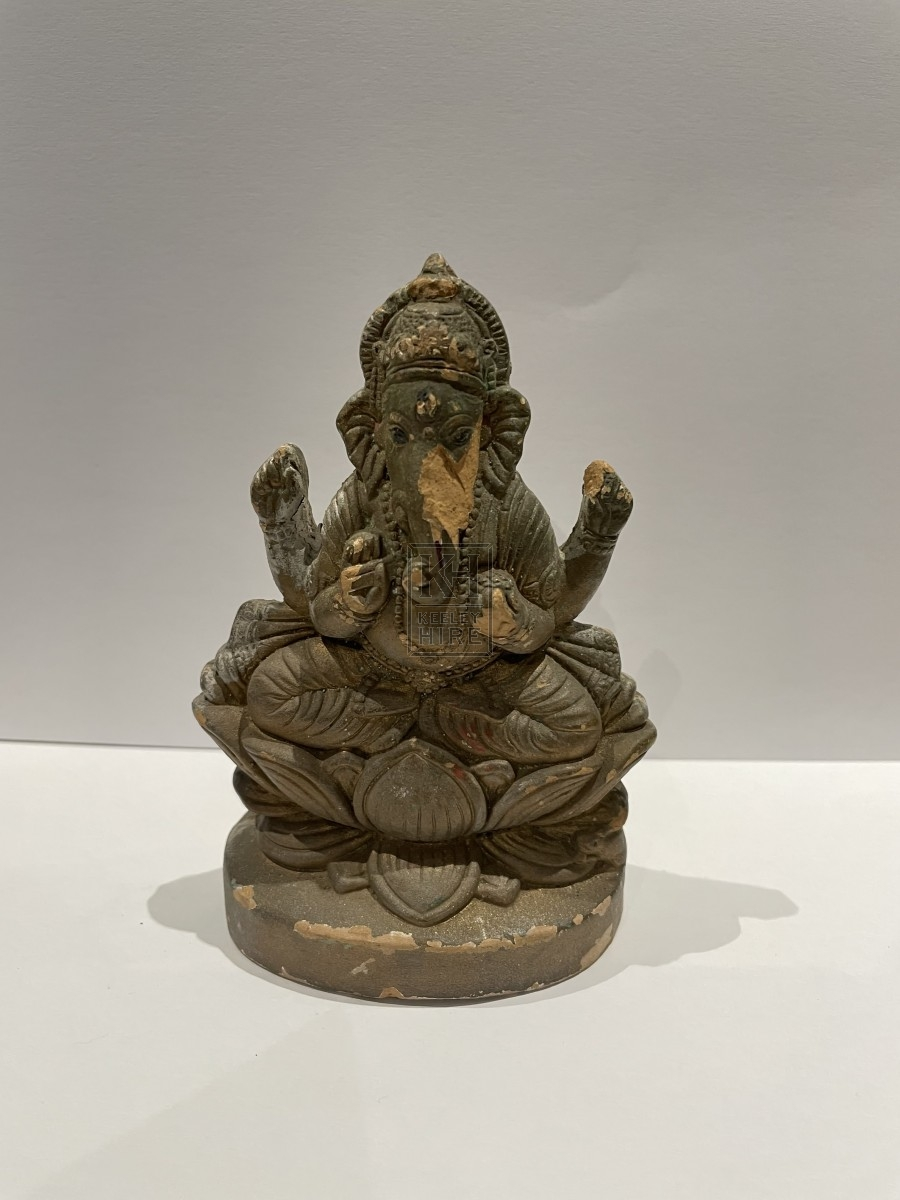 Small Ganesh Statue - Chipped Gold Paint