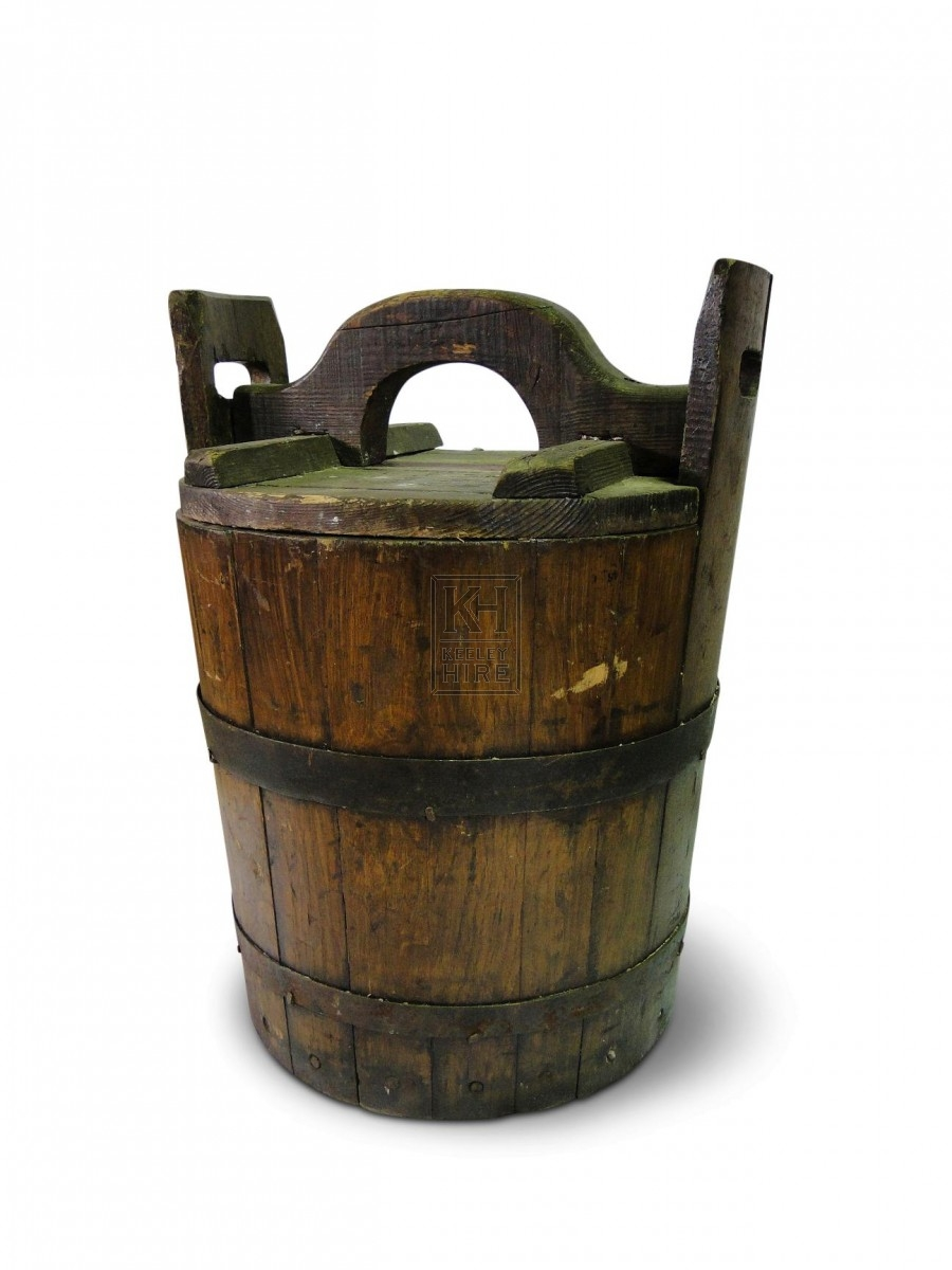 2 Handled Wooden Bucket with Lid