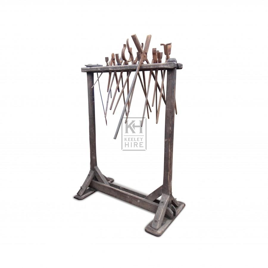 Blacksmiths Tool Rack with  Tools