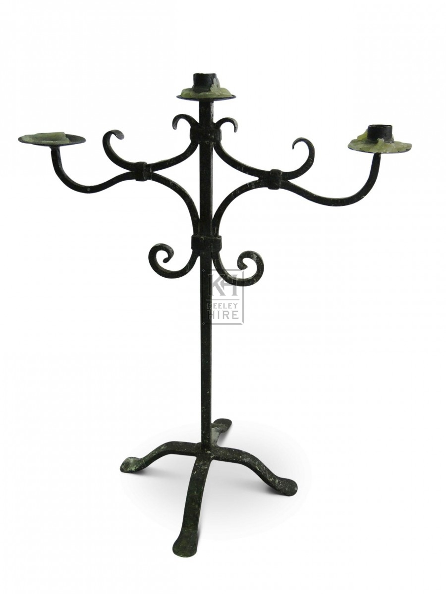 3 Point Iron Table Candelabra with Curls