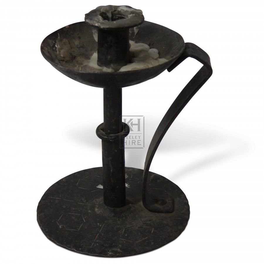 Iron Dish Candle Holder with Handle