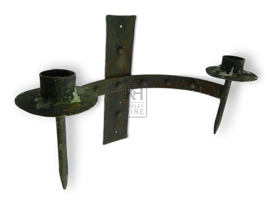 Spiked Double Iron Wall Candleholder
