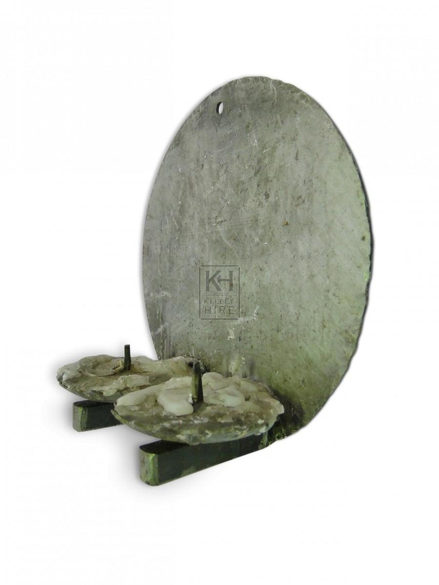 Round Double Iron Wall Candleholder
