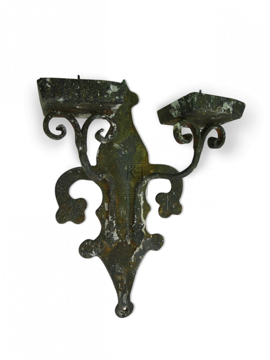Decorative Double Iron Wall Candleholder