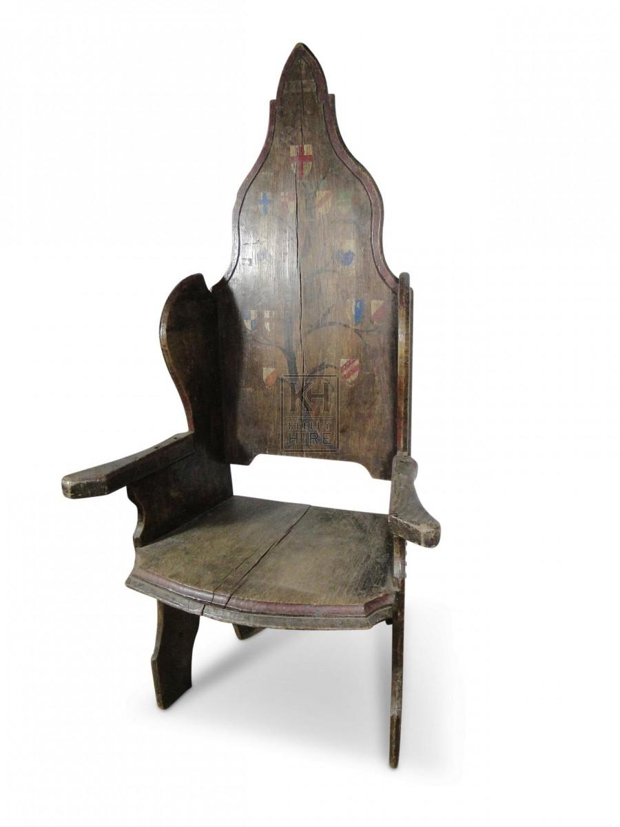 Pointed Oak Throne Chair