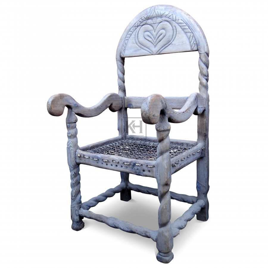Carved Wooden Chairs With Heart Detail