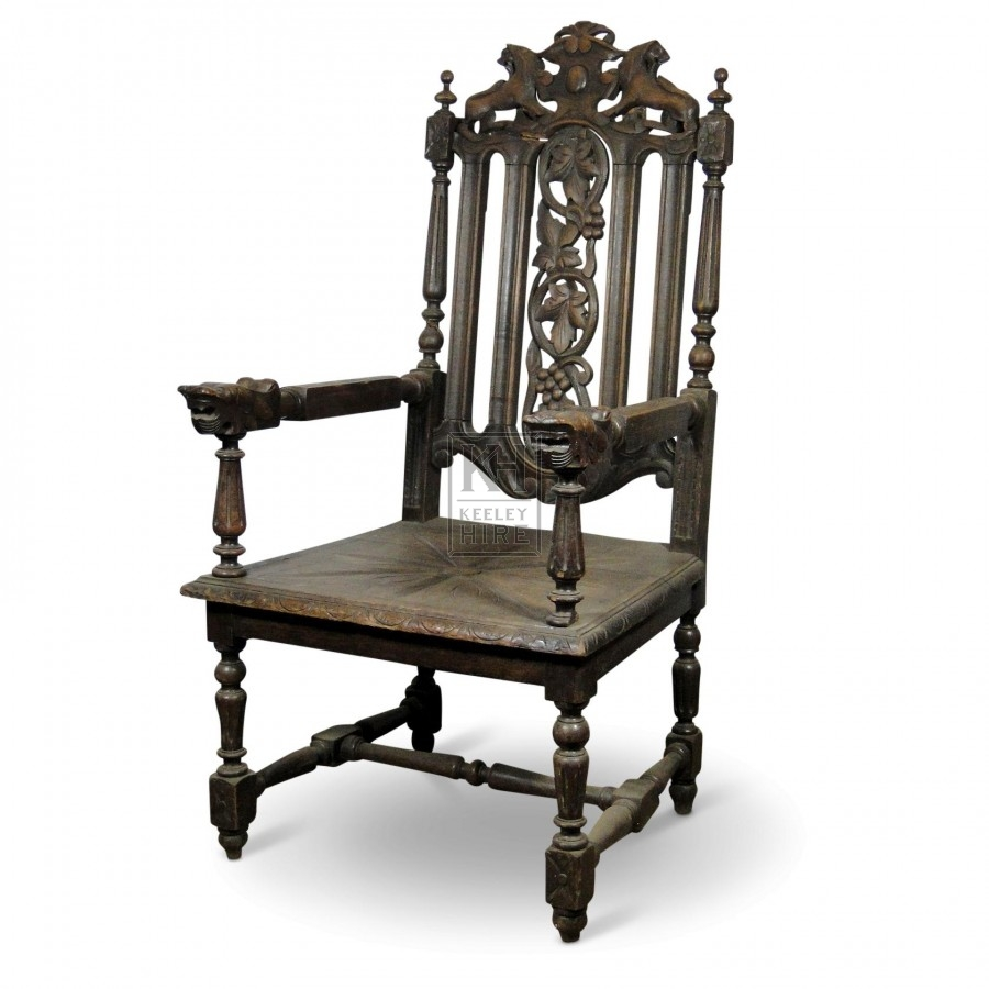 Slatted Back Carved Chair