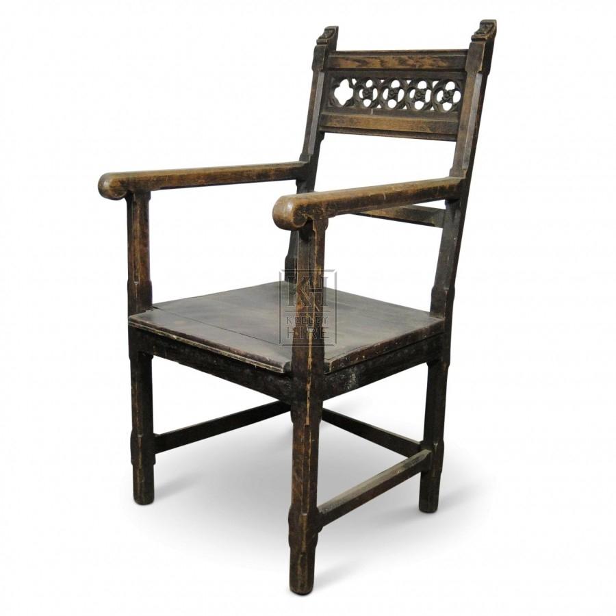 Shaped Top Black Arm Chair