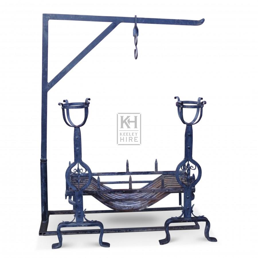 Iron Chimney Crane & Grate Set