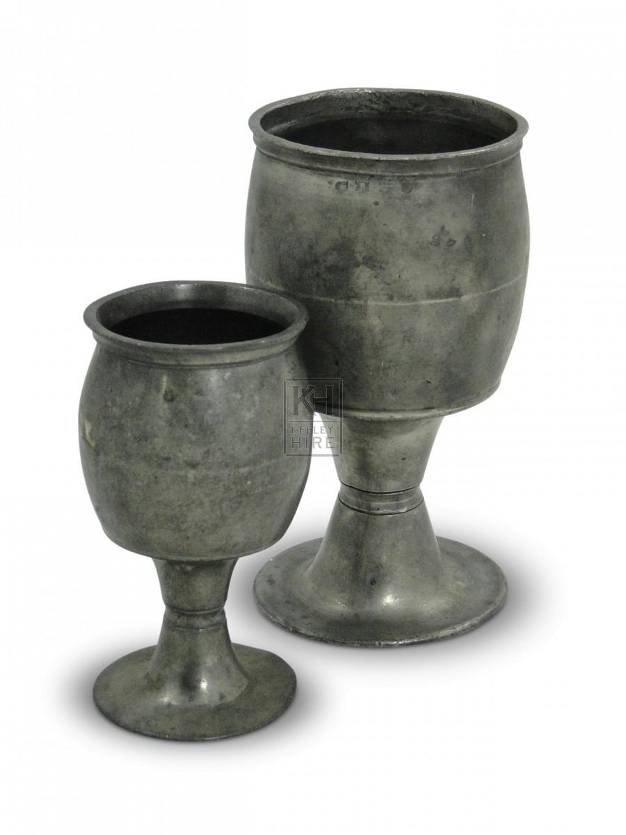 Barrel Shaped Pewter Pint Goblet