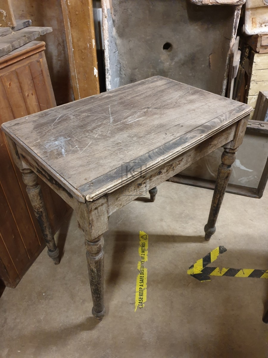 Light wood table with turned legs