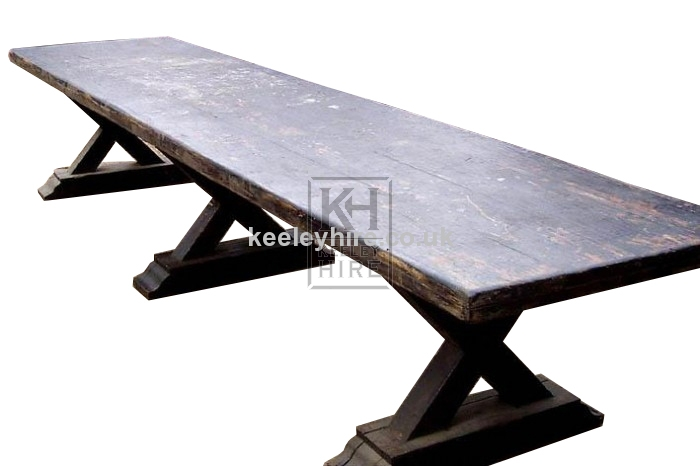 14ft wood banquet table with trestles