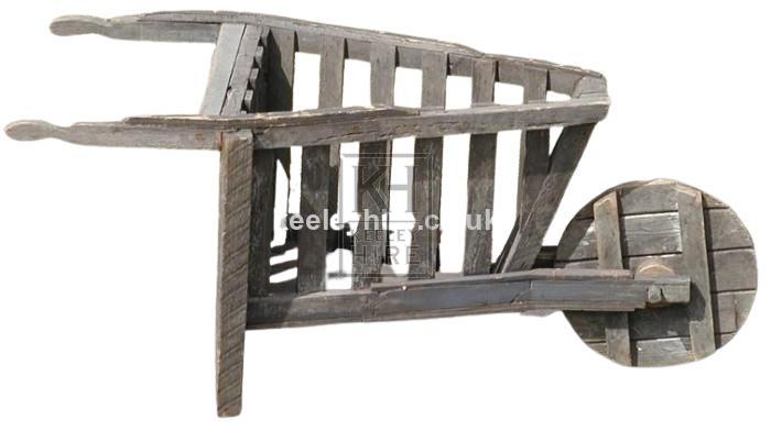 Early Triangular Wooden Wheel Barrow