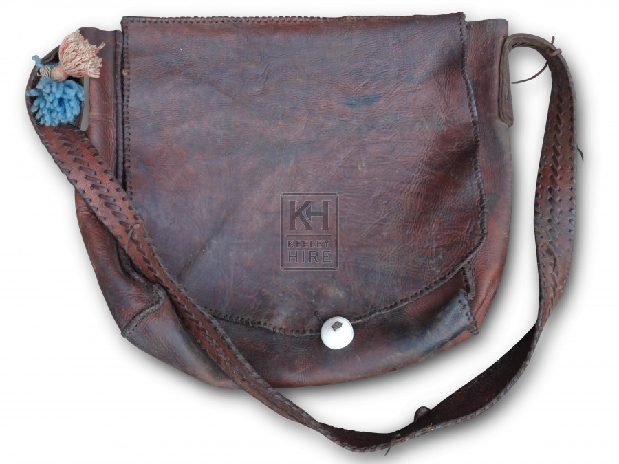 Medium leather bag with Bone tie