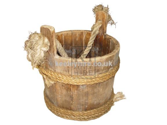 Wood Bucket Rope Bound
