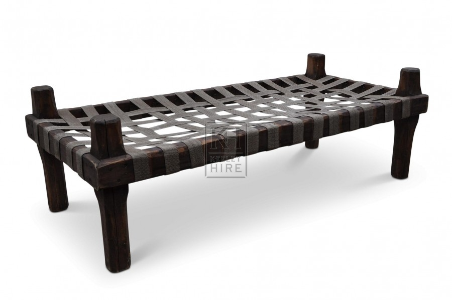 Wood Bed with Webbing