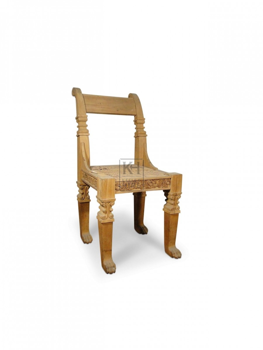 Pale Wood Carved Chair