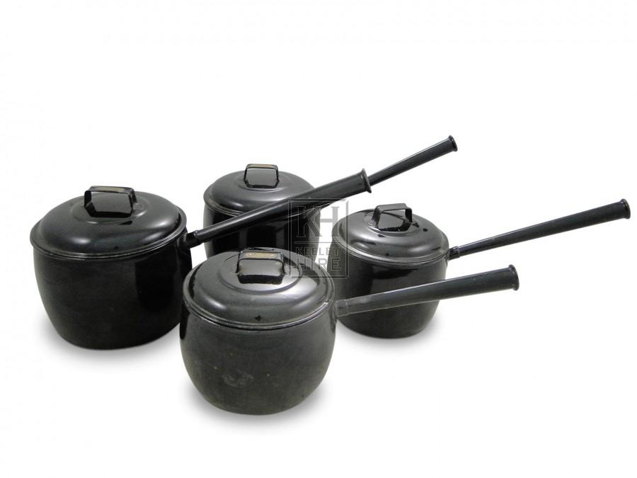 Black Enamel Saucepans