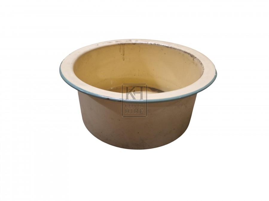 Enamel bowl with handles