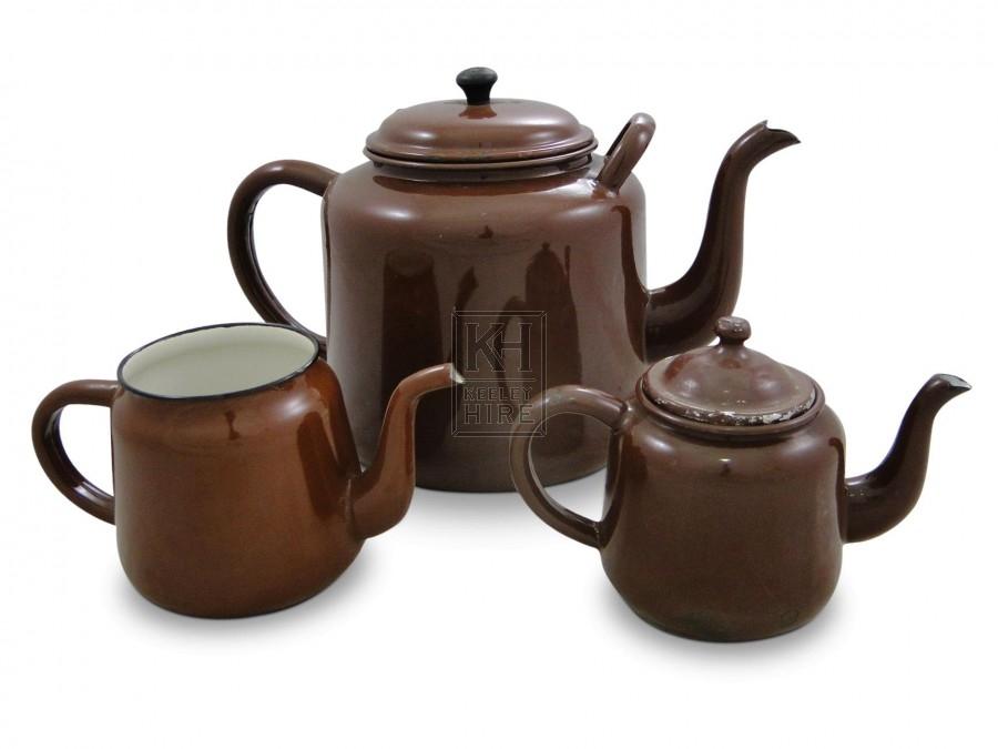 Enamel Teapots - Brown