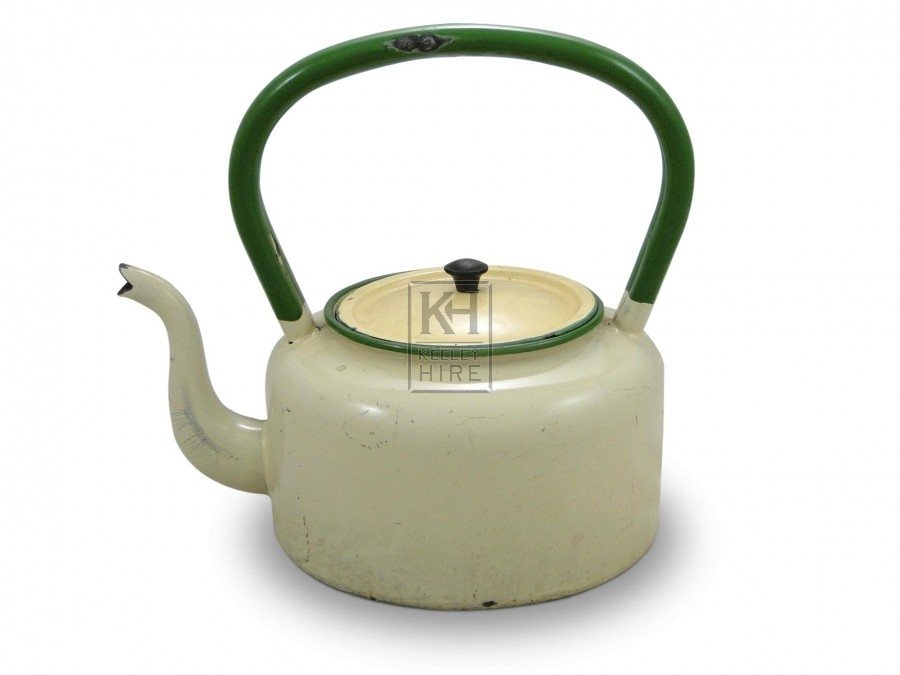 Green and white Enamel Kettle