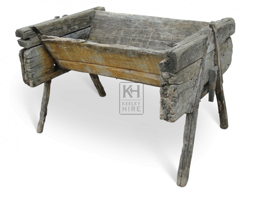 Early rustic wood feed trough #1