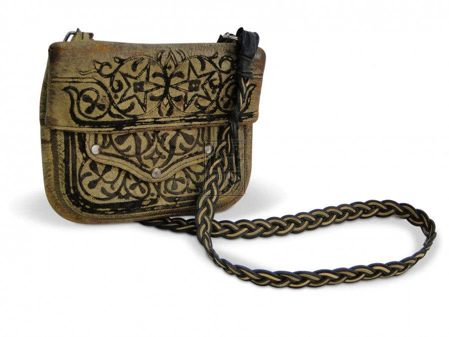 Leather Purse with black pattern