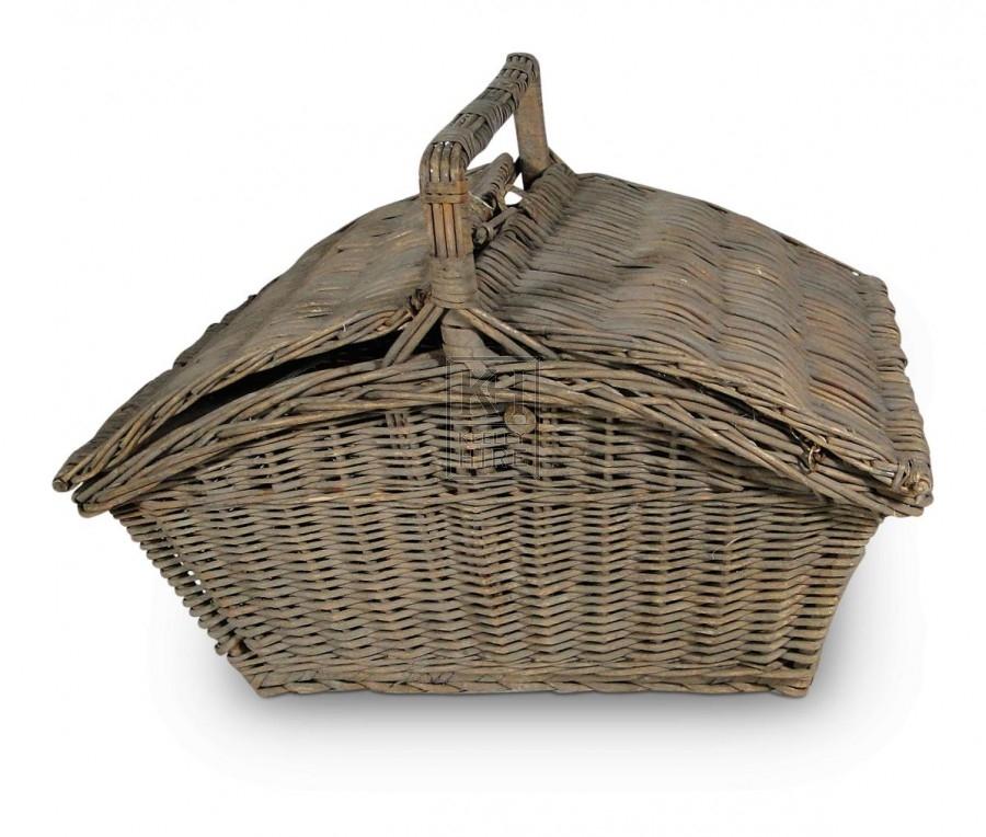 Wicker hand basket with 2 lids