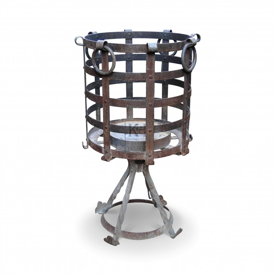 3ft tall iron brazier with ring handles