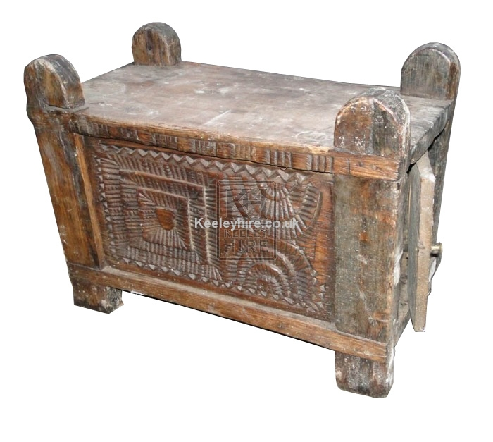 Carved wood chest with door
