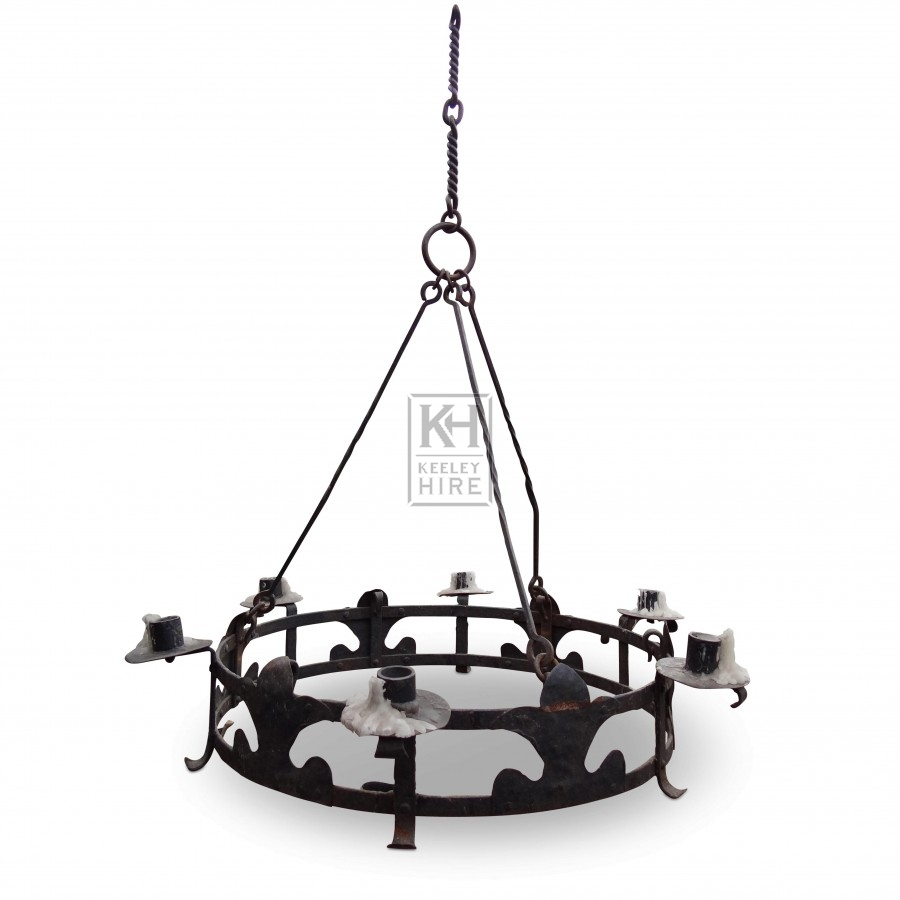 6 Point Iron Ring Chandelier