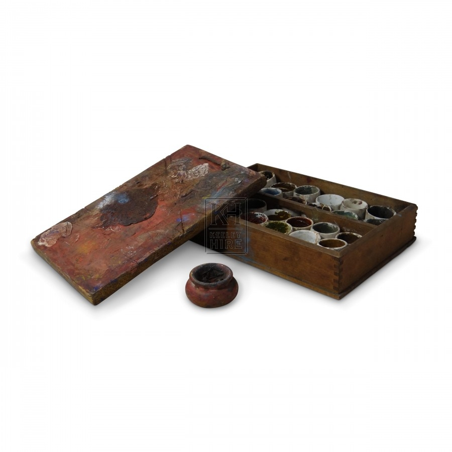 Wooden Paint Tray with Ceramic Pots