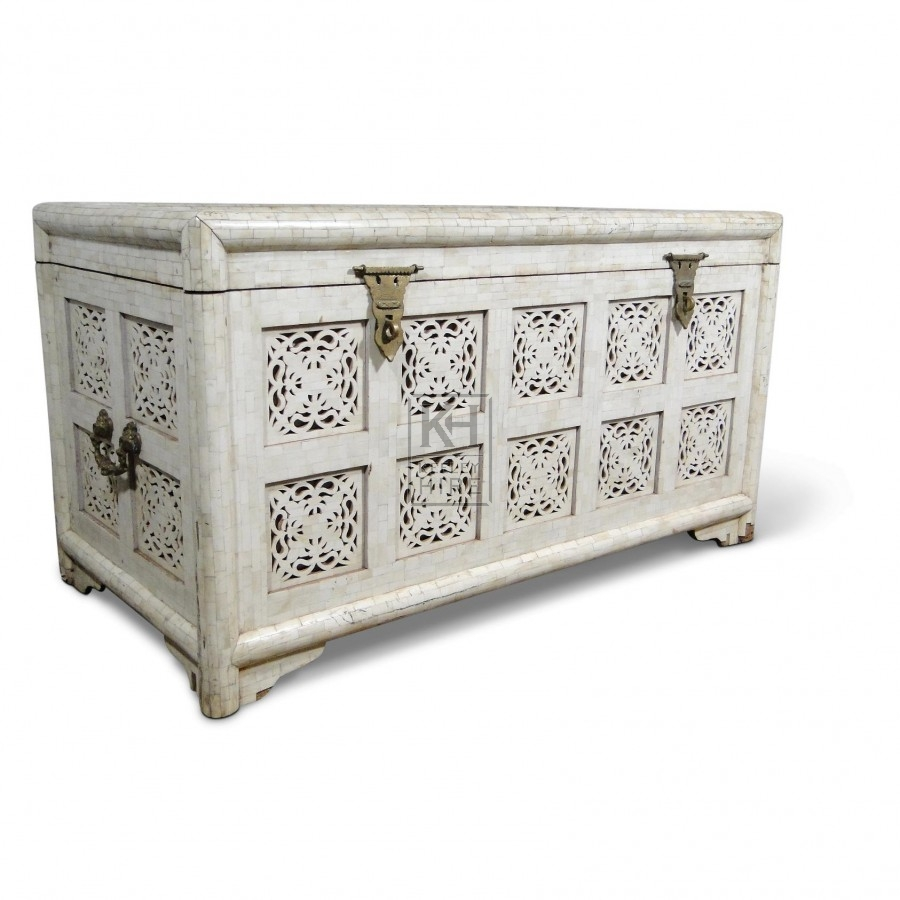 Large White Marble Mosaic Chest