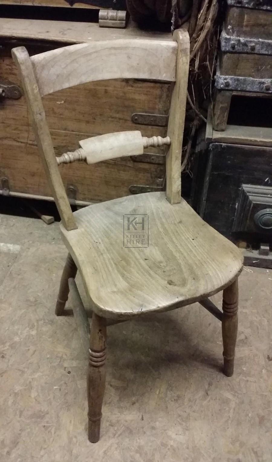 Plain wood light chair with bar back